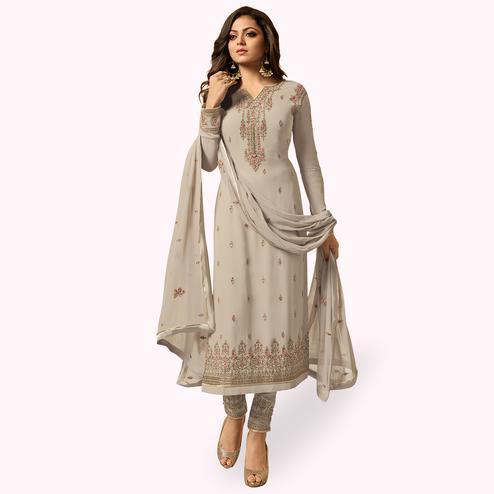 Gorgeous Gray Colored Party Wear Embroidered Georgette Salwar Suit