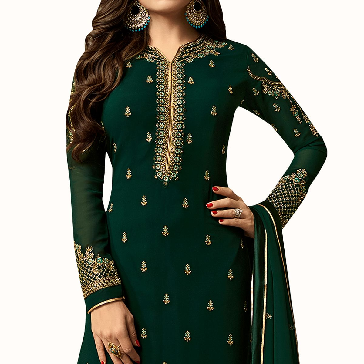 Ideal Bottle Green Colored Party Wear Embroidered Georgette Salwar Suit