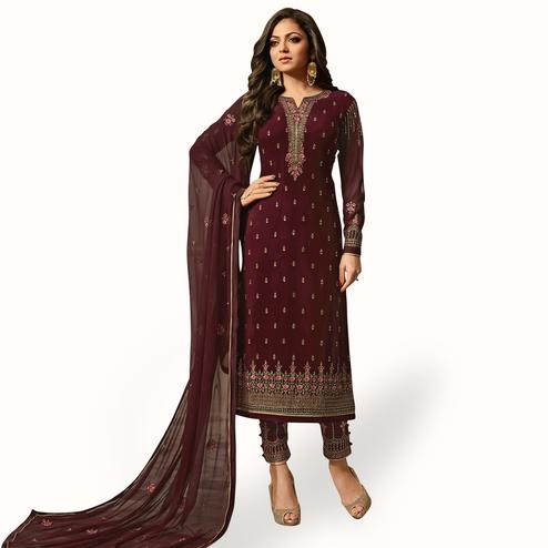 Imposing Dark Wine Colored Party Wear Embroidered Georgette Salwar Suit