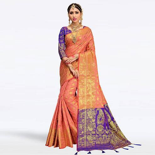 Ideal Peach Colored Festive Wear Woven Silk Saree