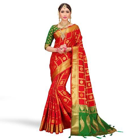 Imposing Red Colored Festive Wear Woven Silk Saree