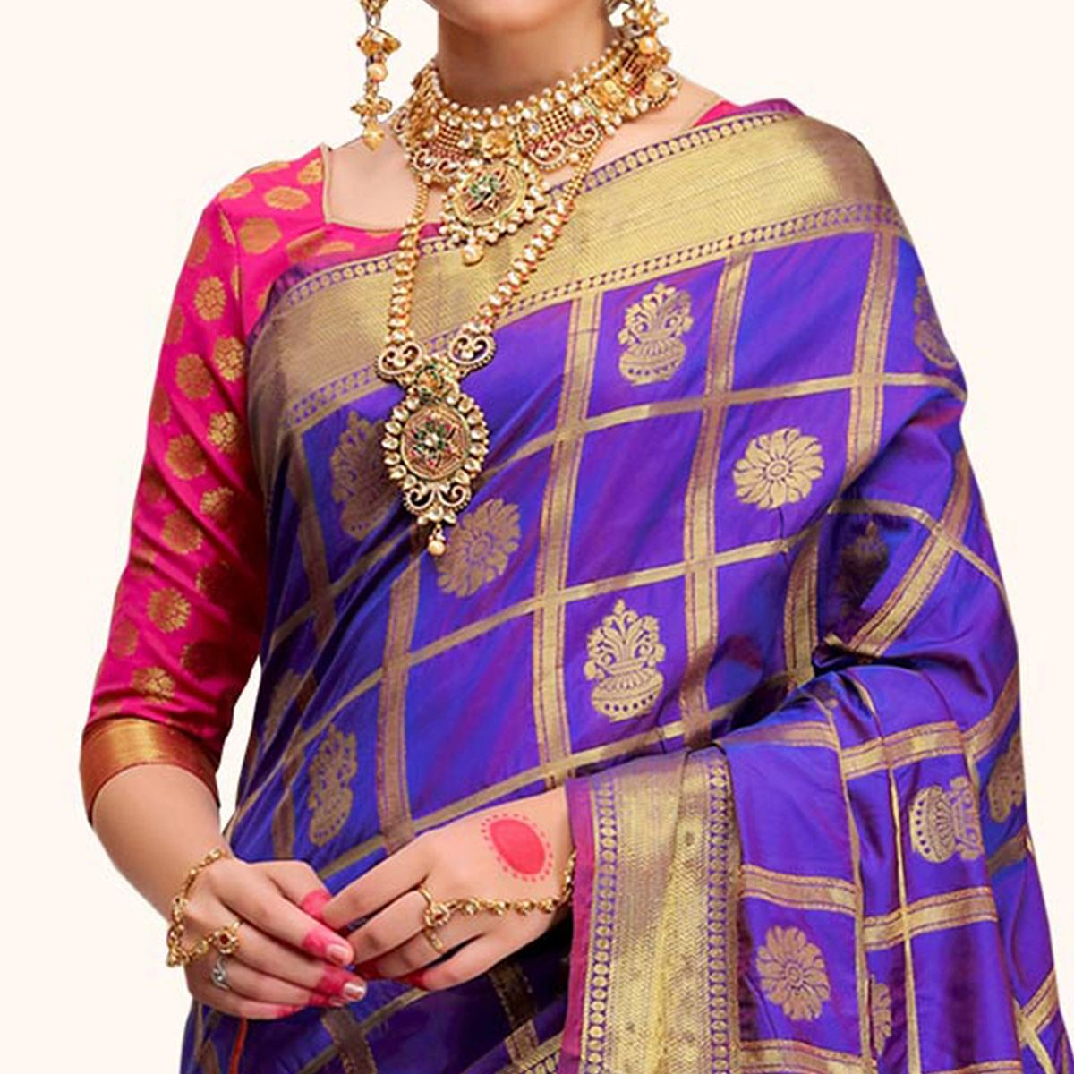 Lovely Purple Colored Festive Wear Woven Silk Saree