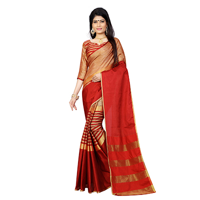 Red Festive Wear Poly Cotton Saree
