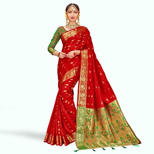 Mesmerising Red Colored Festive Wear Woven Silk Saree