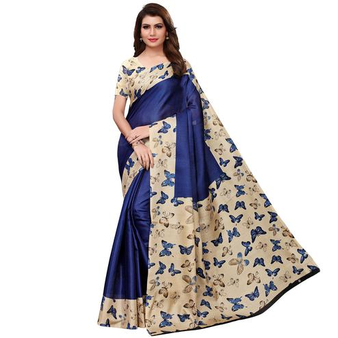 Intricate Navy Blue Colored Casual Wear Printed Art Silk Saree