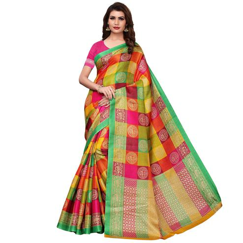 Arresting Yellow - Green Colored Casual Wear Printed Art Silk Saree