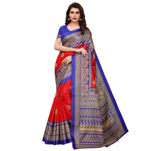 Desirable Red Colored Casual Wear Printed Art Silk Saree