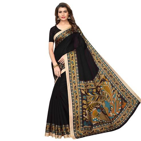 Exotic Black Colored Casual Wear Printed Art Silk Saree