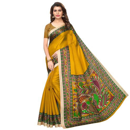 Trendy Mustard Yellow Colored Casual Wear Printed Art Silk Saree