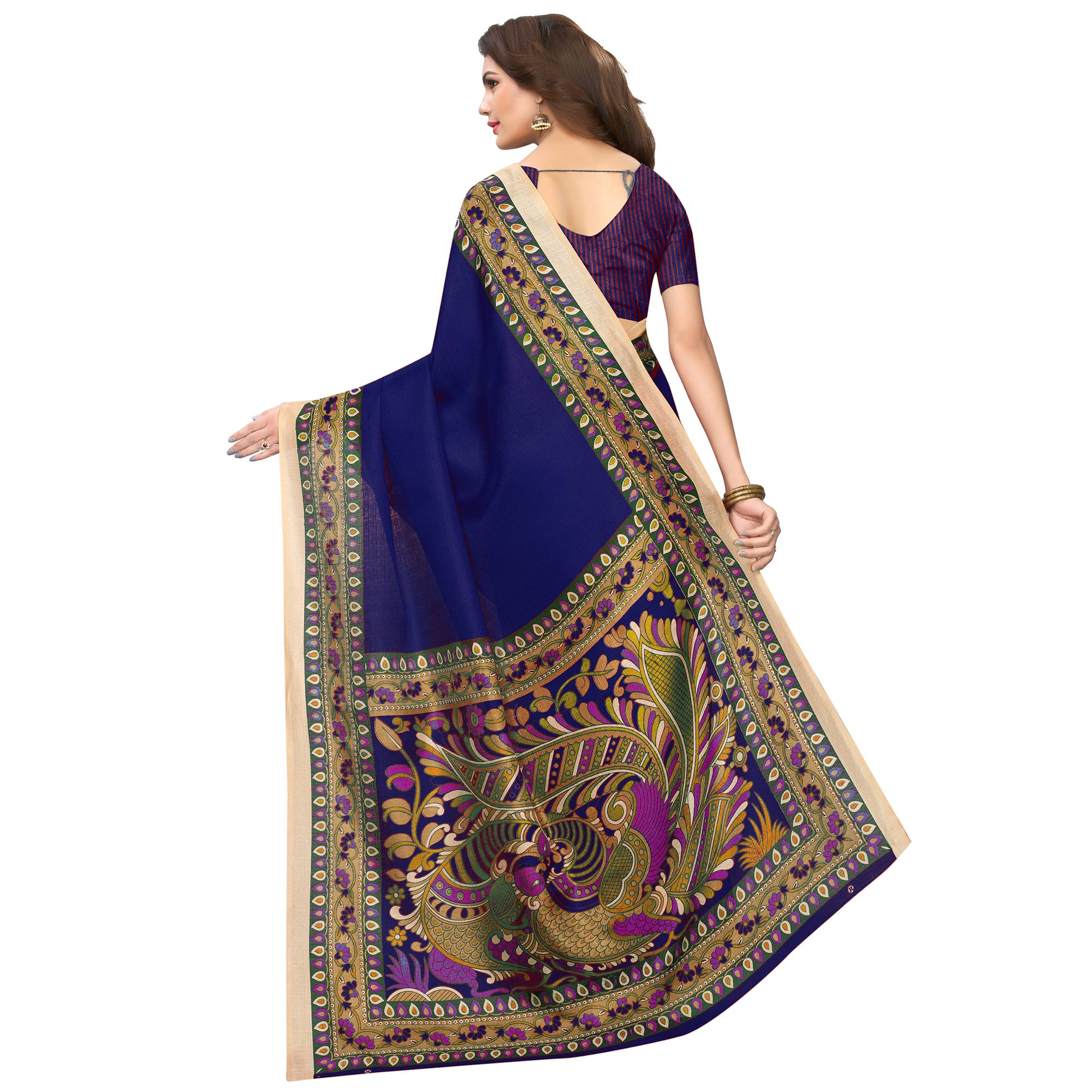 Elegant Navy Blue Colored Casual Wear Printed Art Silk Saree
