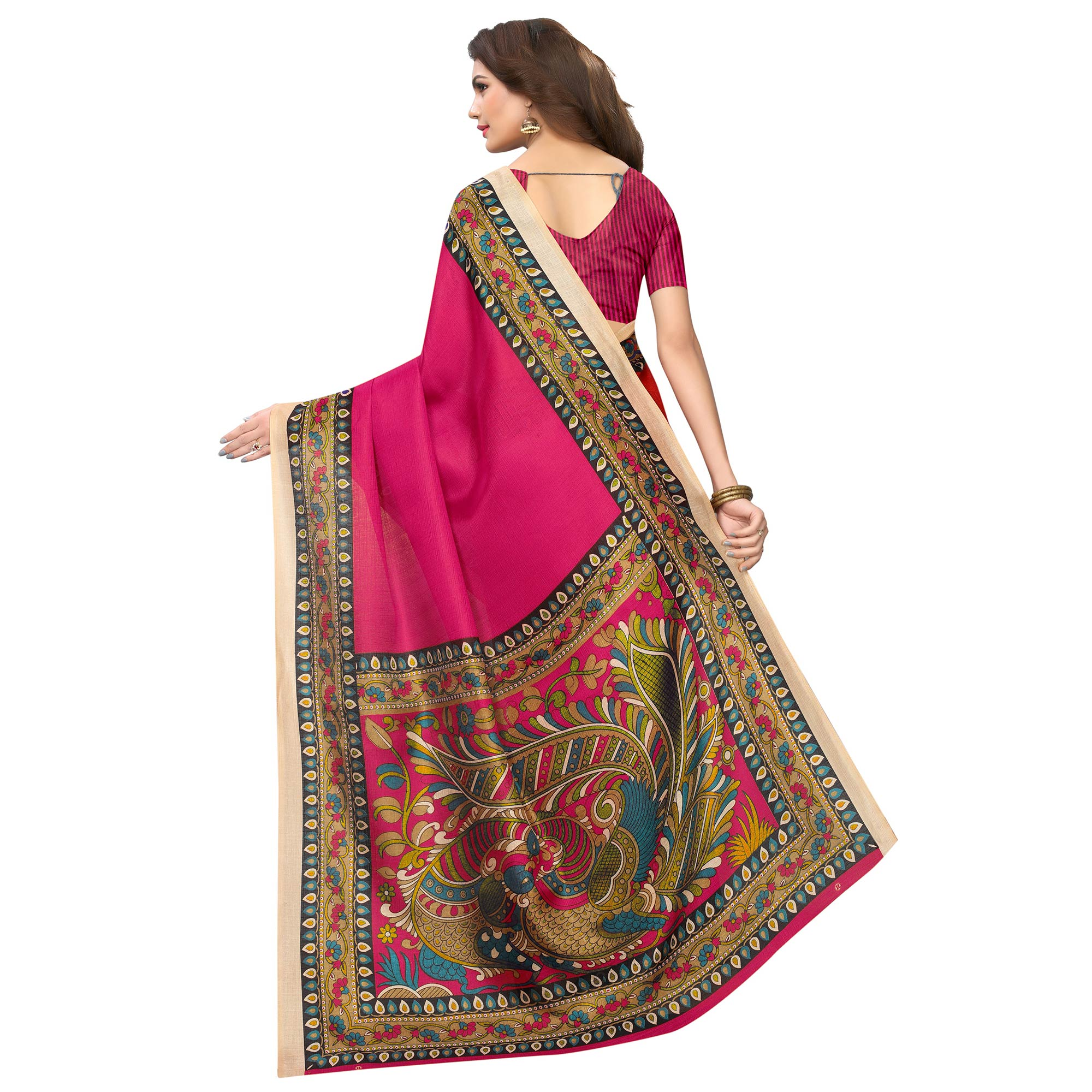 Pleasant Pink Colored Casual Wear Printed Art Silk Saree