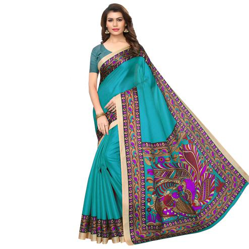 Opulent Rama Blue Colored Casual Wear Printed Art Silk Saree