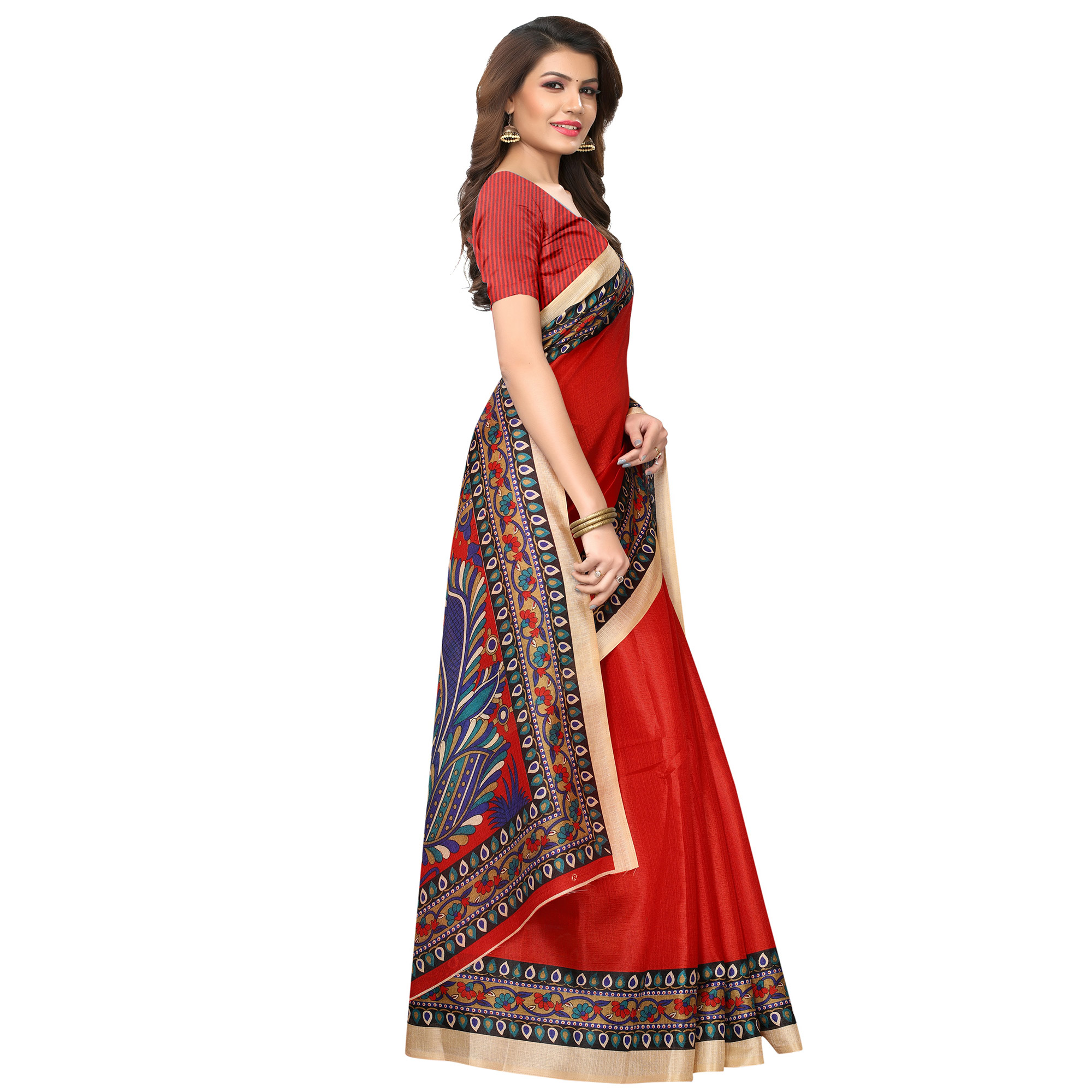 Energetic Red Colored Casual Wear Printed Art Silk Saree