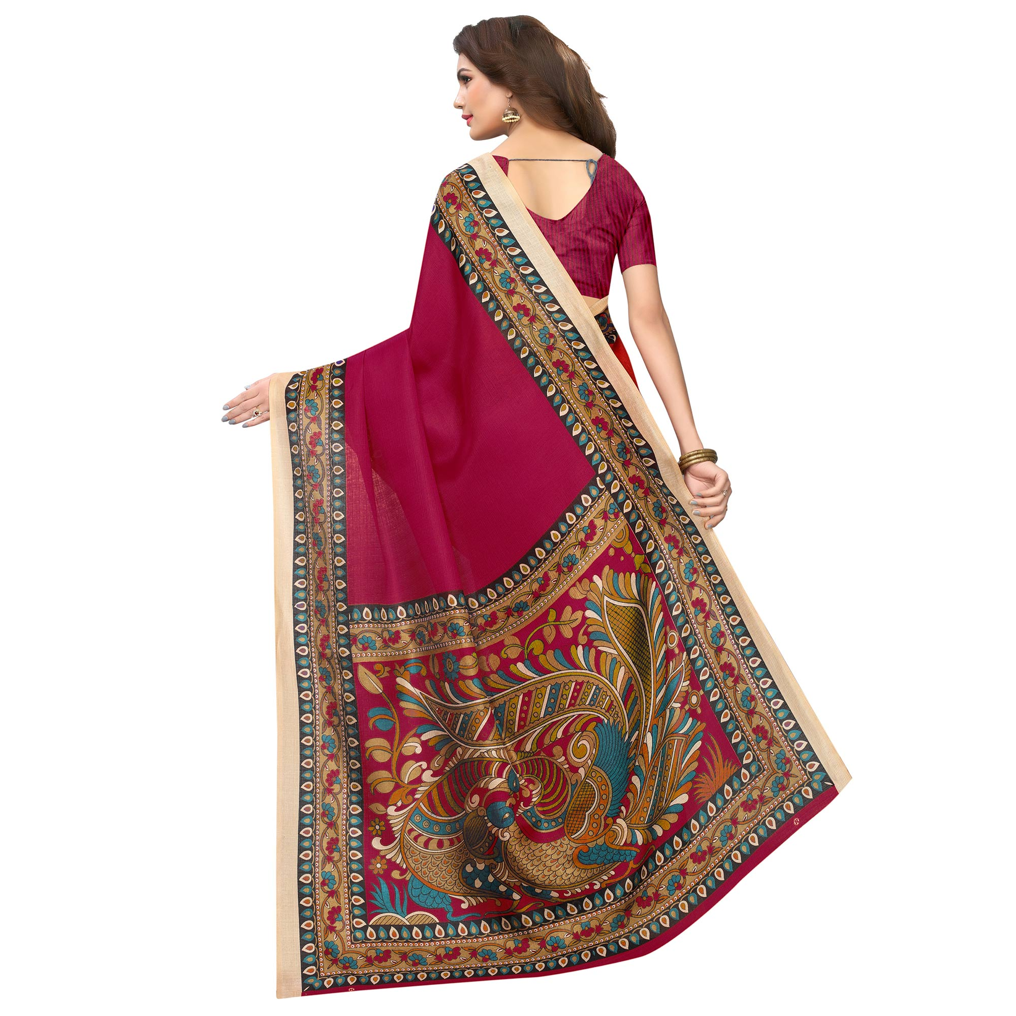 Glowing Wine Colored Casual Wear Printed Art Silk Saree