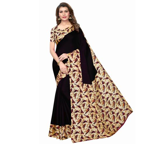 Unique Black Colored Casual Wear Printed Art Silk Saree