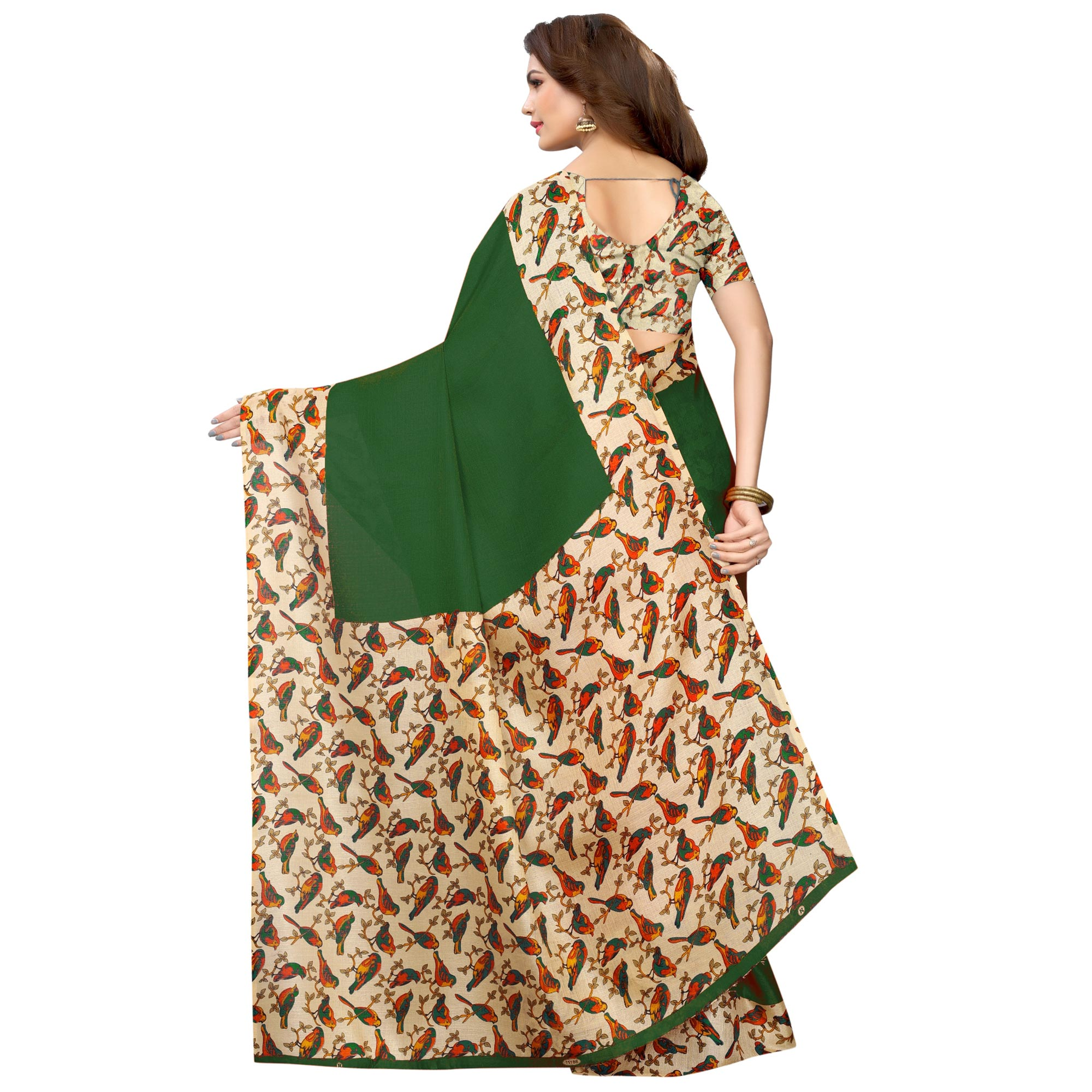 Demanding Green Colored Casual Wear Printed Art Silk Saree