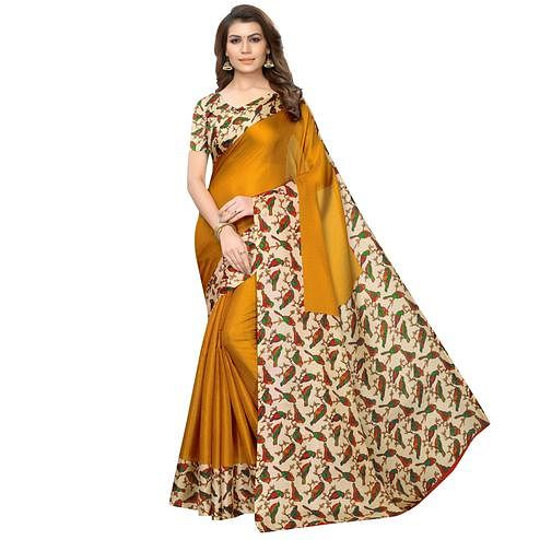 Refreshing Mustard Yellow Colored Casual Wear Printed Art Silk Saree