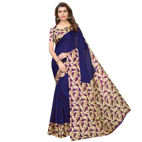 Magnetic Navy Blue Colored Casual Wear Printed Art Silk Saree