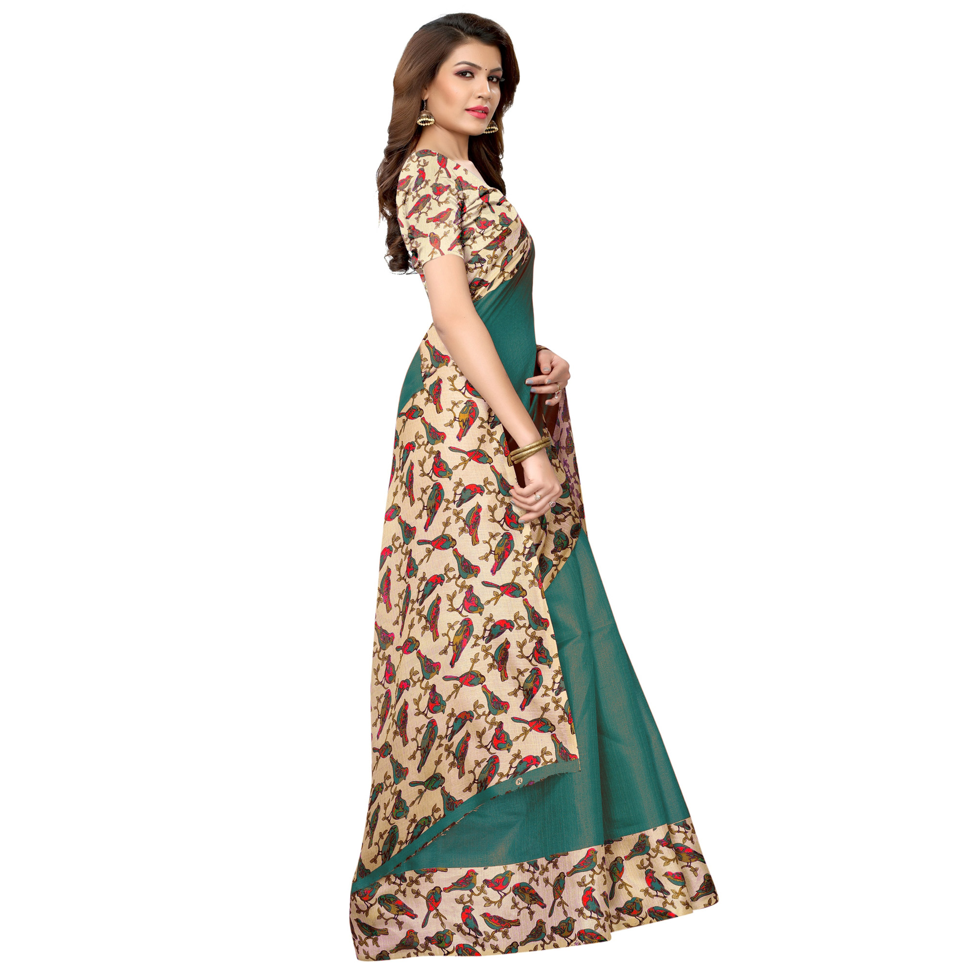 Excellent Dark Turquoise Green Colored Casual Wear Printed Art Silk Saree