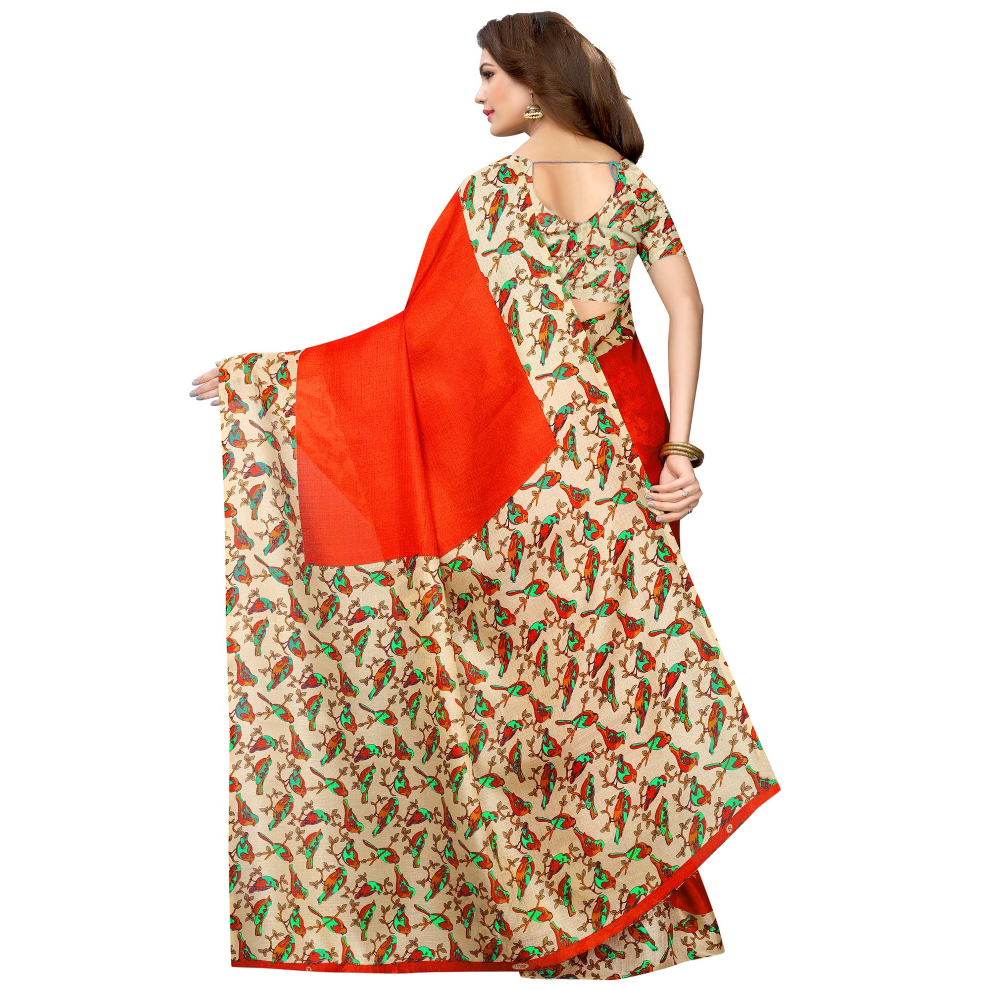 Preferable Red Colored Casual Wear Printed Art Silk Saree