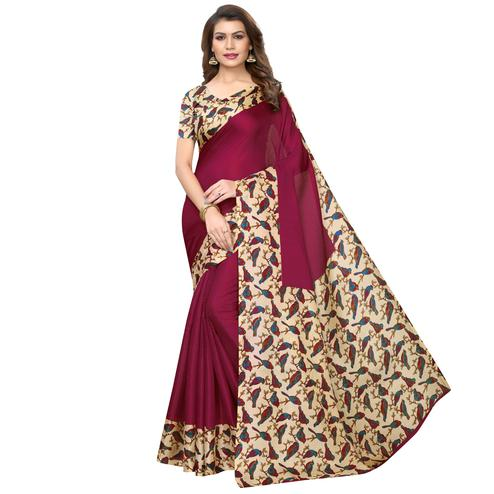 Marvellous Wine Colored Casual Wear Printed Art Silk Saree