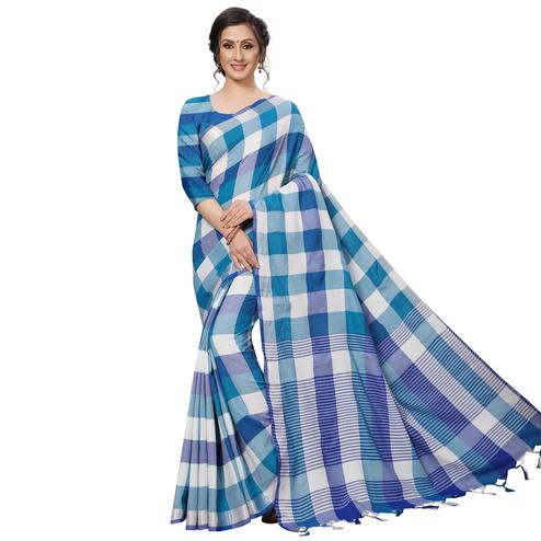 Glorious Blue Festive Wear Woven Linen Silk Saree