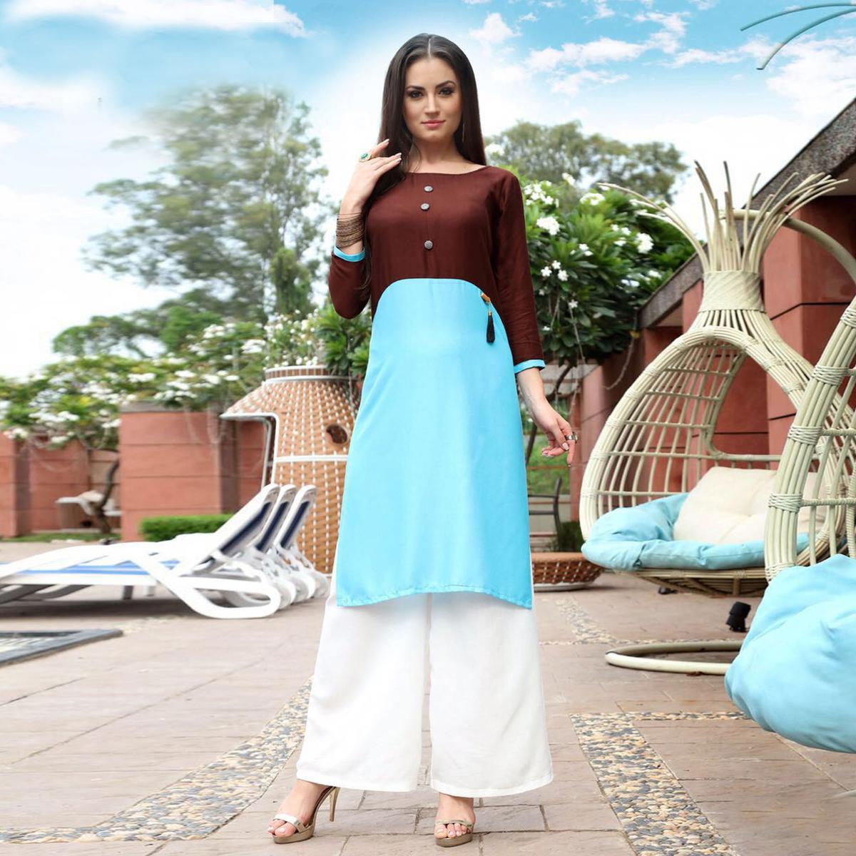 Stylish Brown-Blue Designer Heavy Rayon Kurti