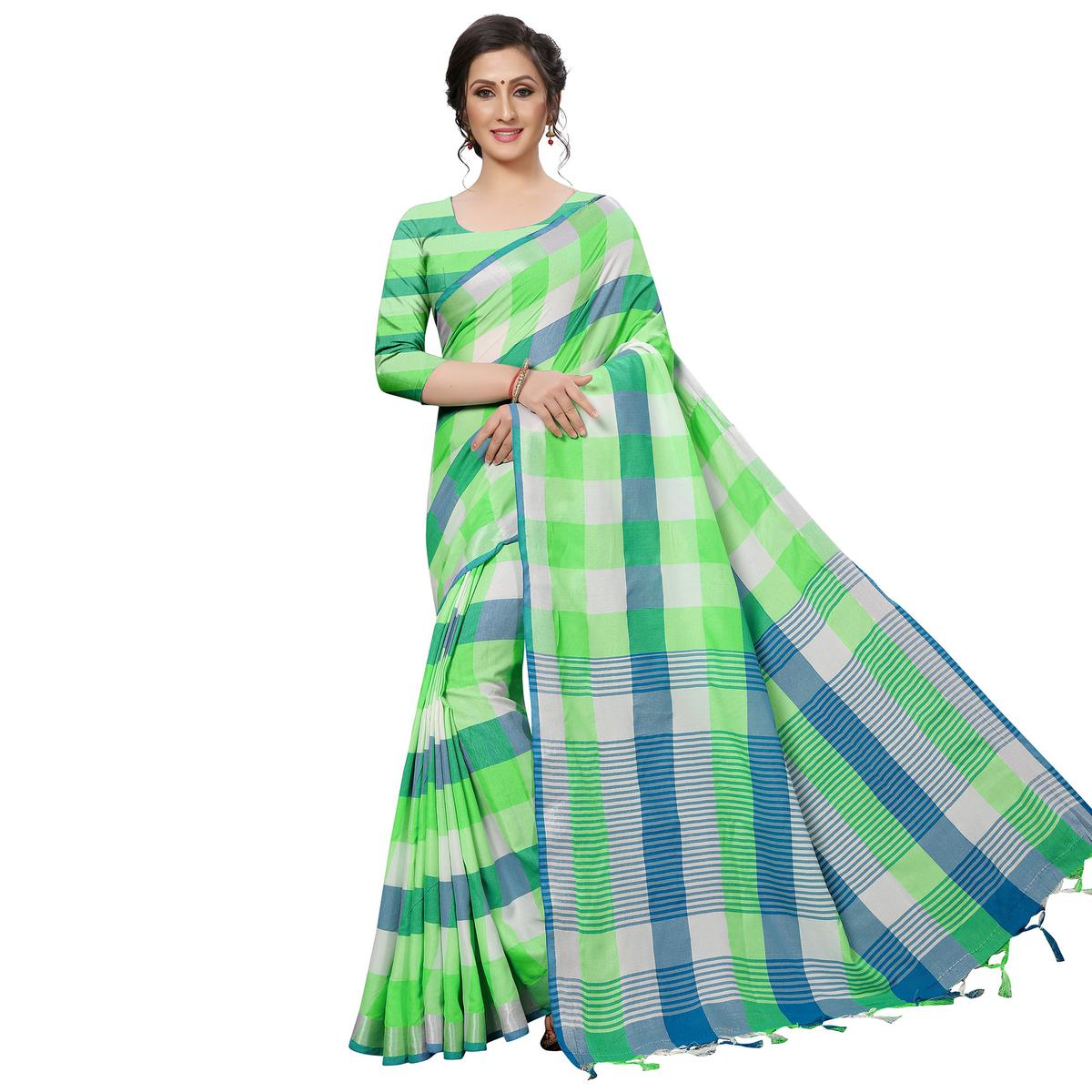 Attractive Green Festive Wear Woven Linen Silk Saree