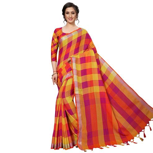 Beautiful Magenta-Yellow Festive Wear Woven Linen Silk Saree