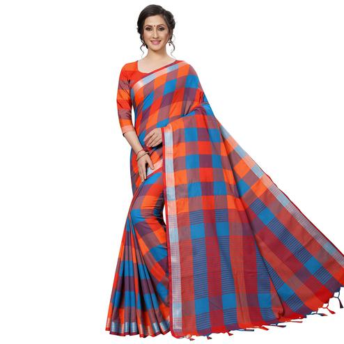 Graceful Orange-Blue Festive Wear Woven Linen Silk Saree