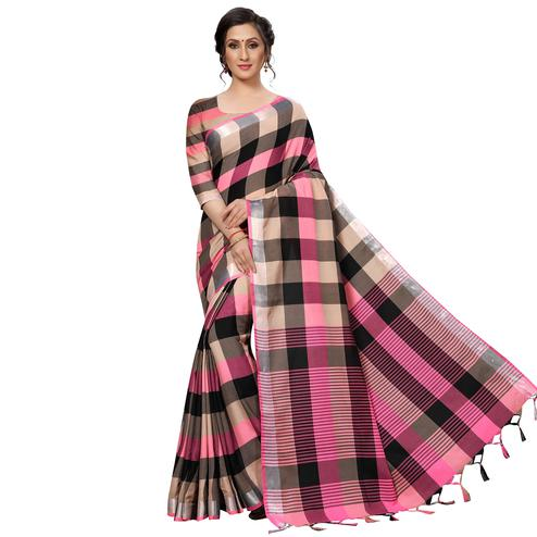 Blooming Pink Festive Wear Woven Linen Silk Saree