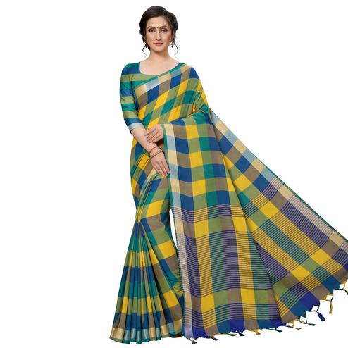 Charming Yellow-Blue Festive Wear Woven Linen Silk Saree