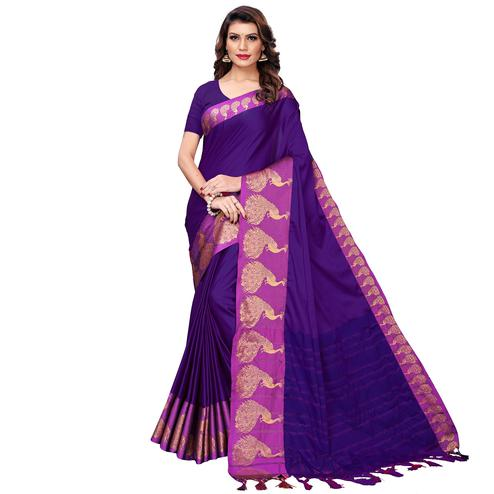 Jazzy Purple Festive Wear Woven Art Silk Saree