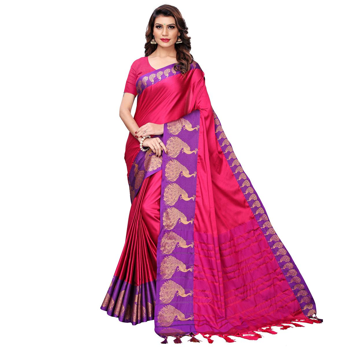 Innovative Pink Festive Wear Woven Art Silk Saree