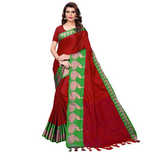 Fantastic Red Festive Wear Woven Art Silk Saree