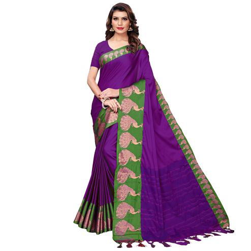 Amazing Violet Festive Wear Woven Art Silk Saree