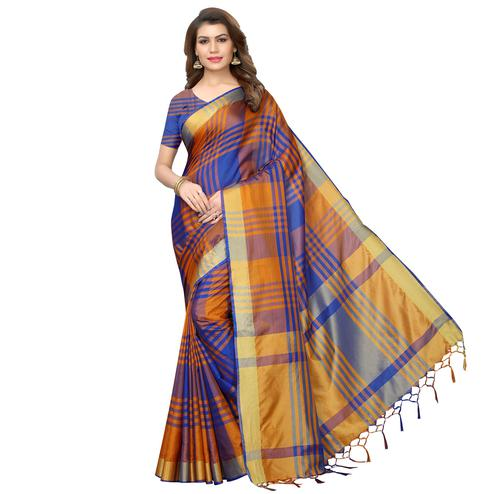 Gorgeous Blue-Orange Festive Wear Woven Art Silk Saree