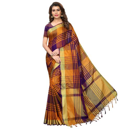 Ideal Orange-Purple Festive Wear Woven Art Silk Saree