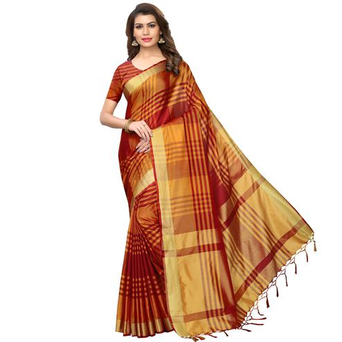 Imposing Red-Orange Festive Wear Woven Art Silk Saree