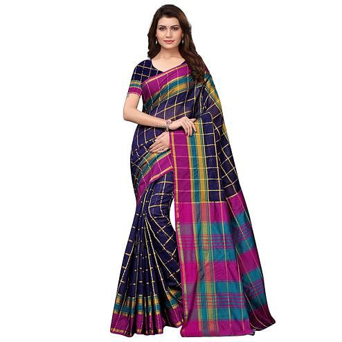 Majesty Navy Blue Festive Wear Woven Art Silk Saree