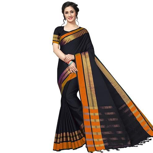 Impressive Black Festive Wear Woven Art Silk Saree