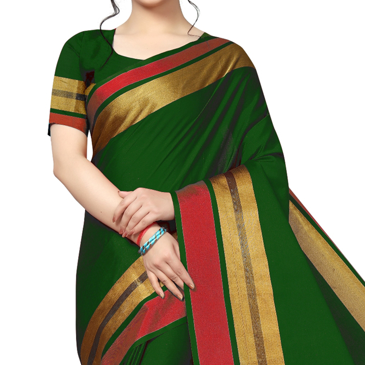 Pleasance Green Festive Wear Woven Art Silk Saree