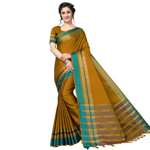 Breathtaking Mustard Festive Wear Woven Art Silk Saree