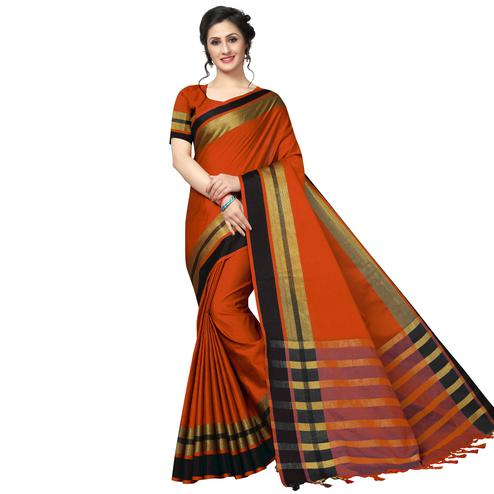 Ethnic Orange Festive Wear Woven Art Silk Saree