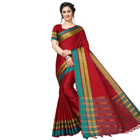 Ravishing Red Festive Wear Woven Art Silk Saree