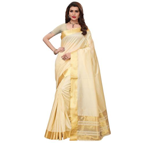 Staring Cream Festive Wear Woven Art Silk Saree