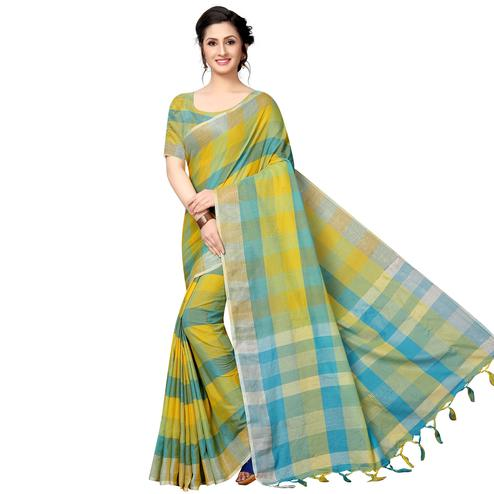 Surpassing Green-Blue Festive Wear Woven Linen Silk Saree