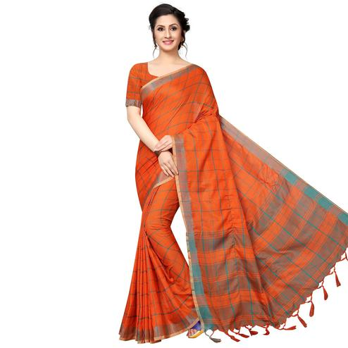 Arresting Orange Festive Wear Woven Linen Silk Saree