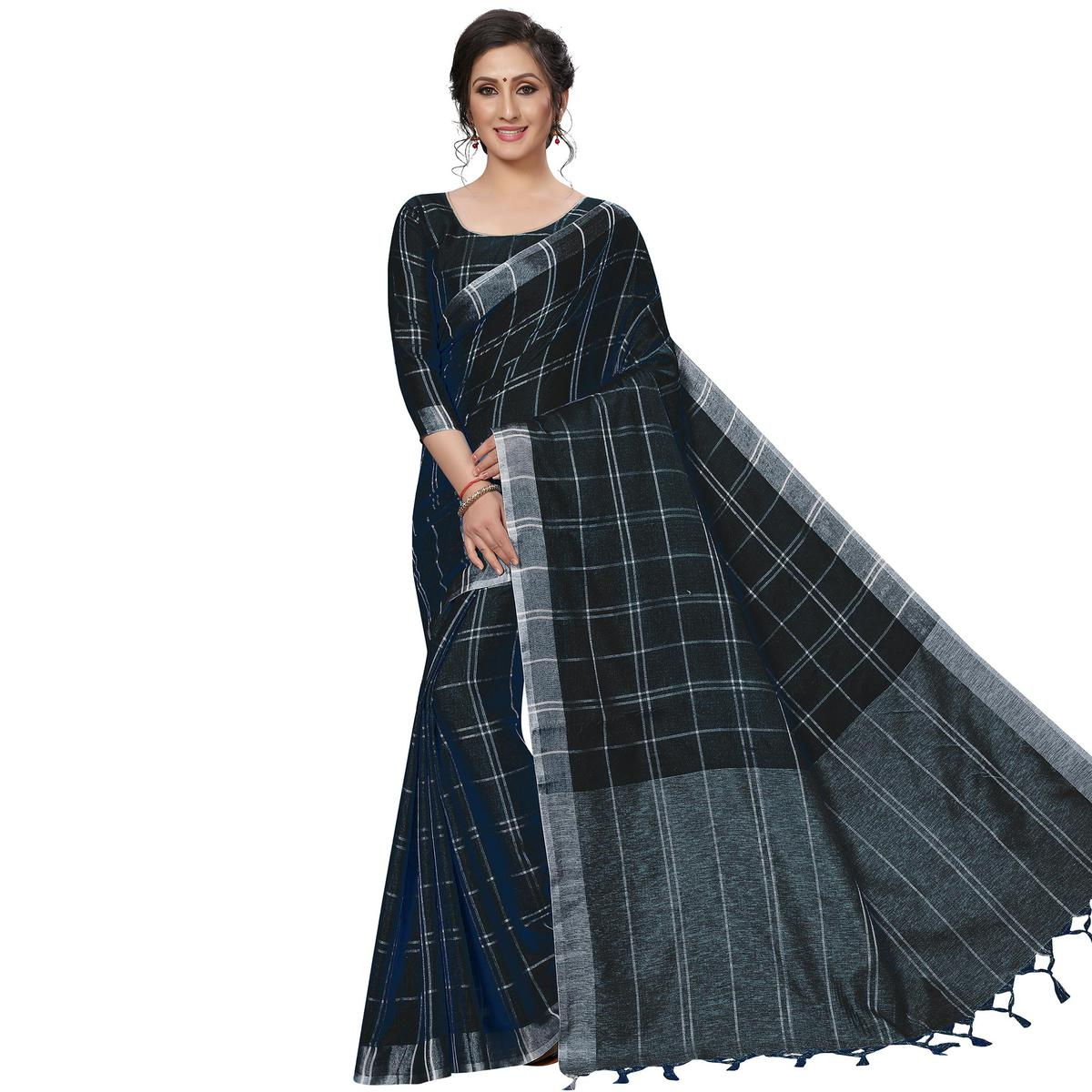 Desirable Black Festive Wear Woven Linen Silk Saree