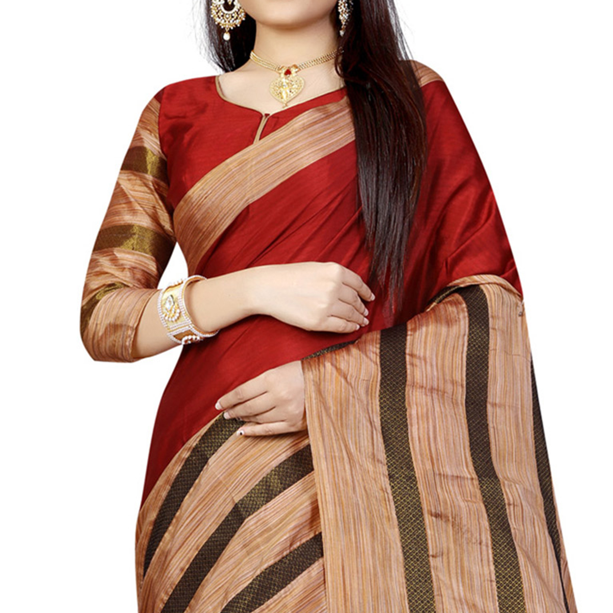 Maroon Festive Wear Poly Cotton Saree